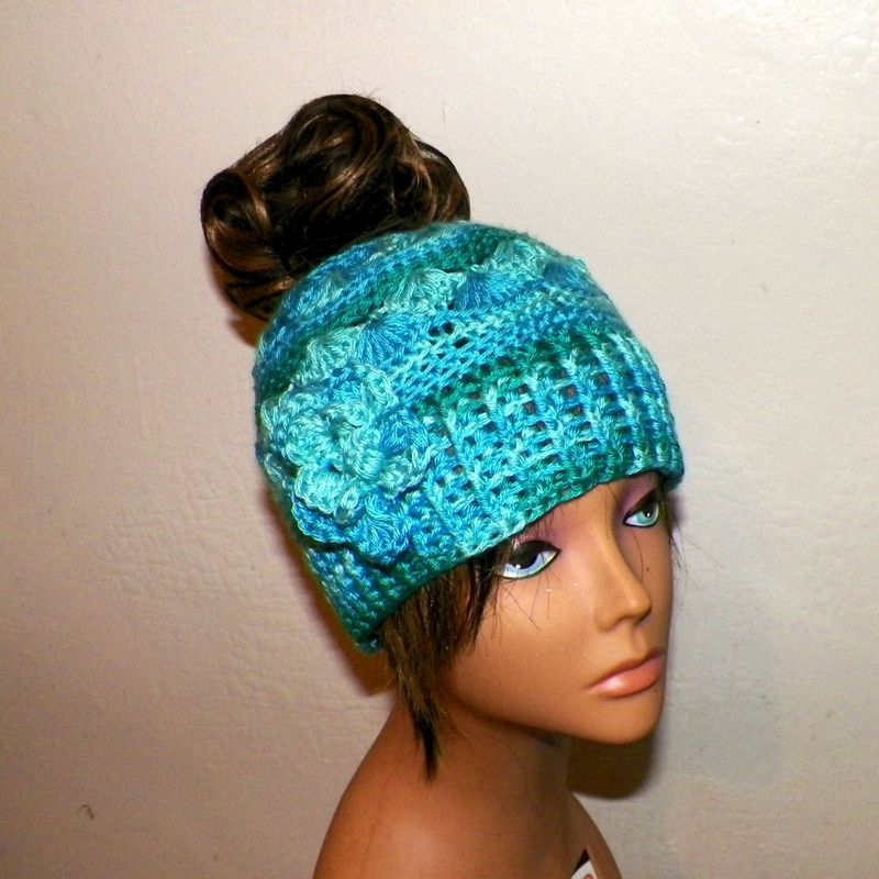 Wild Irish Rose Crochet Bun Hat